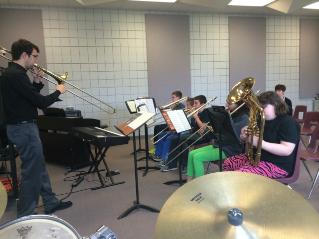 Mike Conrad working with the Prairie Ridge jazz trombones