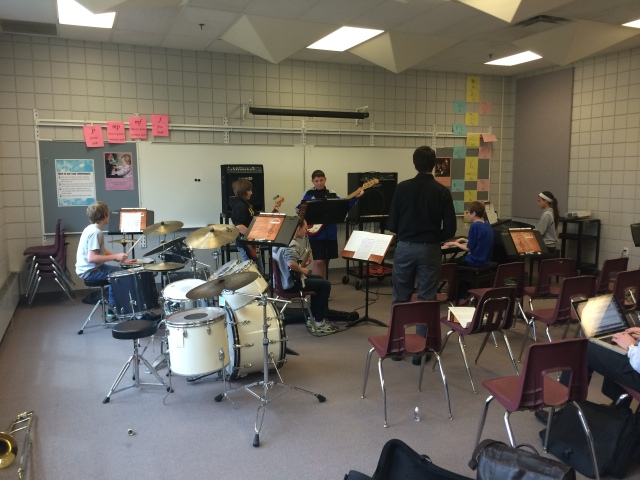 Mike Conrad working with the Prairie Ridge Jazz Rhythm Section