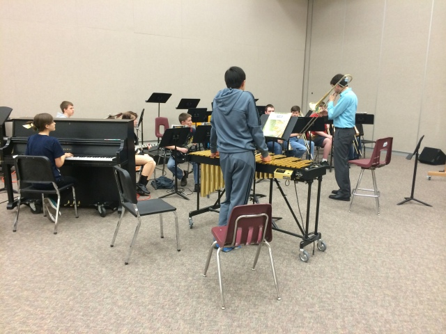 9th Grade jazz students improvising with Mike Conrad
