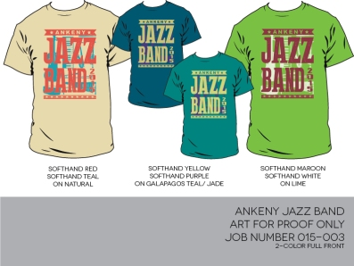 Ankeny Jazz T-shirt colors/design
