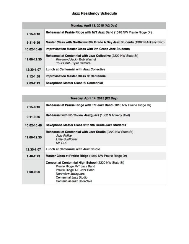 2015 Residency Schedule